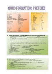 English Worksheet: WORD FORMATION: PREFIXES