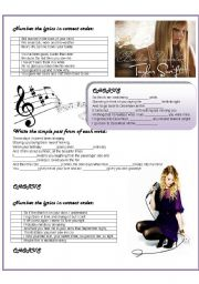 English Worksheet: Back to December by Taylor Swift