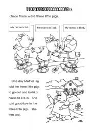 English Worksheets: Three Little PigsStory/Coloring Book