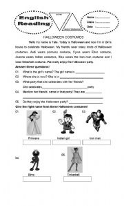 English Worksheets: hallowen costumes