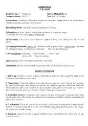 worksheet: Lesson plan: house