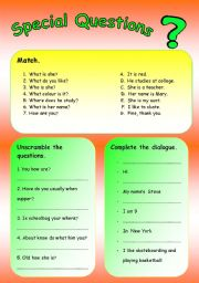 English Worksheets: Special questions