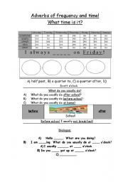 English worksheet: Time and adverbs