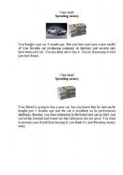 English Worksheets: Money Case study