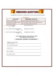 English Worksheet: EMBEDDED QUESTIONS- 2 PAGES-activities on the second page