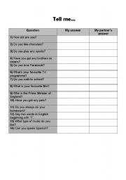 English worksheet: Tell me about yourself...questionnaire