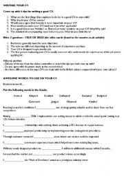 English Worksheet: CV Business conversation (based on monster.co.uk CV tips section)