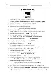 Supersize Me - ESL worksheet by vanessa78