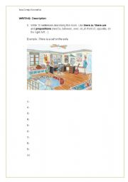 English Worksheets: Writing: Describing my room