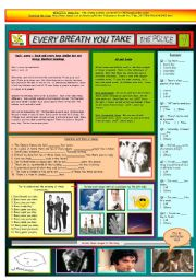 English Worksheets: EVERY BREATH YOU TAKE - THE POLICE - PART 01 - FULLY EDITABLE AND FULLY CORRECTABLE