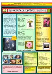 English Worksheets: EVERY BREATH YOU TAKE - THE POLICE - PART 02 - FULLY CORRECTABLE AND FULLY EDITABLE