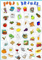 English Worksheet: FOOD AND DRINKS -CUT & PASTE- vocabulary revision for kids