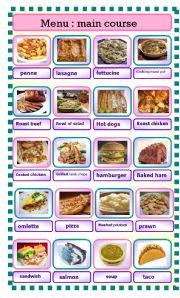 English Worksheet: menu part 2 : main course