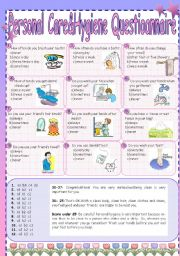 English Worksheets: Personal Care&Hygiene Questionnaire