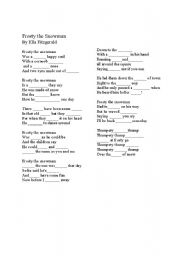 English Worksheet: Frosty the Snowman Cloze Gap