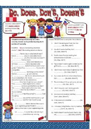 English Worksheet: Do, Does, Don�t and Doesn�t