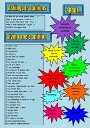 English Worksheets: ASKING FOR AND GIVING OPINIONS