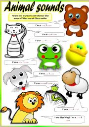 English Worksheet: ANIMAL SOUNDS (Part 2)