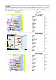 English Worksheet: What�s in the fridge