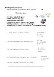 English Worksheets: how butterflies grow reading comprehension