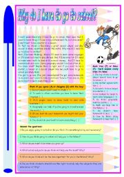 English Worksheet: Why do I have to go to school? � Reading comprehension + discussion or essay [3 tasks] ***editable