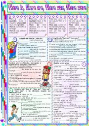 English Worksheet: There is, There are, There was, There were � rules, examples and exercises [5 tasks] KEYS INCLUDED ((2 pages)) ***editable