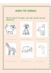 English Worksheets: Guess the animals