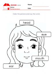English Worksheets: Eeasy Body Parts