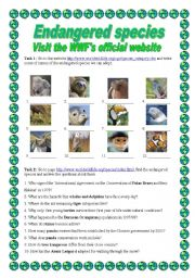 English Worksheet: Endangered Species - webquest