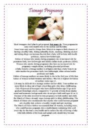 English Worksheets: Teenage Pregnancy