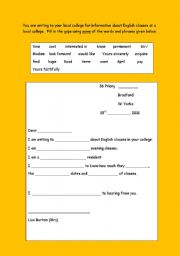 English Worksheets: Letter to college