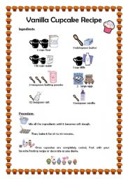 English worksheets cupcake recipe english worksheet cupcake recipe forumfinder Choice Image