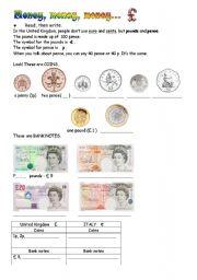 English Worksheet: Money, money, money!