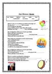 English Worksheet: June afternoon - Roxette