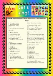 English Worksheet: GLEE SERIES � SONGS FOR CLASS! S01E03 & 04 � THREE SONGS � FULLY EDITABLE WITH KEY!