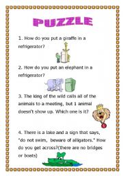 English Worksheets: How do you put a giraffe in a refrigerator?