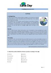 English Worksheet: Environment: Earth Day - Reading + writing test
