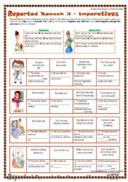 English Worksheet: 3 REPORTED SPEECH - IMPERATIVES/COMMANDS 1 - With explanation