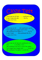 English Worksheet: THERE WAS AN OLD LADY  cloze test   5 PAGES