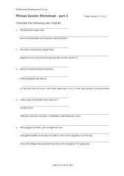 English Worksheets: PHRASES WORKSHEET
