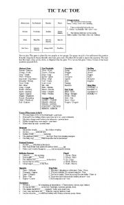 English Worksheet: TIC TAC TOE