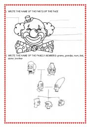 English Worksheets: FACE AND FAMILY