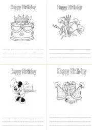 English worksheet: Birthday colouring card