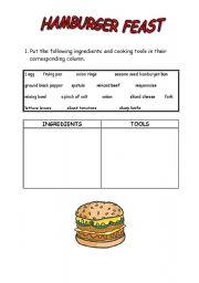 English Worksheet: HAMBURGER RECIPE