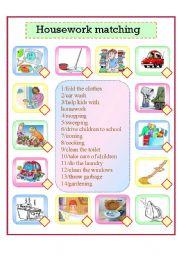 English Worksheet: housework matching