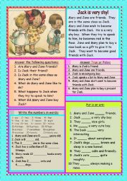 English Worksheets: Jack is very shy!