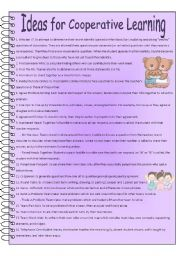 English Worksheets: Ideas for Cooperative Learning