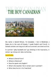 English Worksheets: the boy canadian