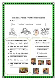 English Worksheets: She has a fever - top notch fundamentals