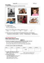 English Worksheet: Life without Parents Handout